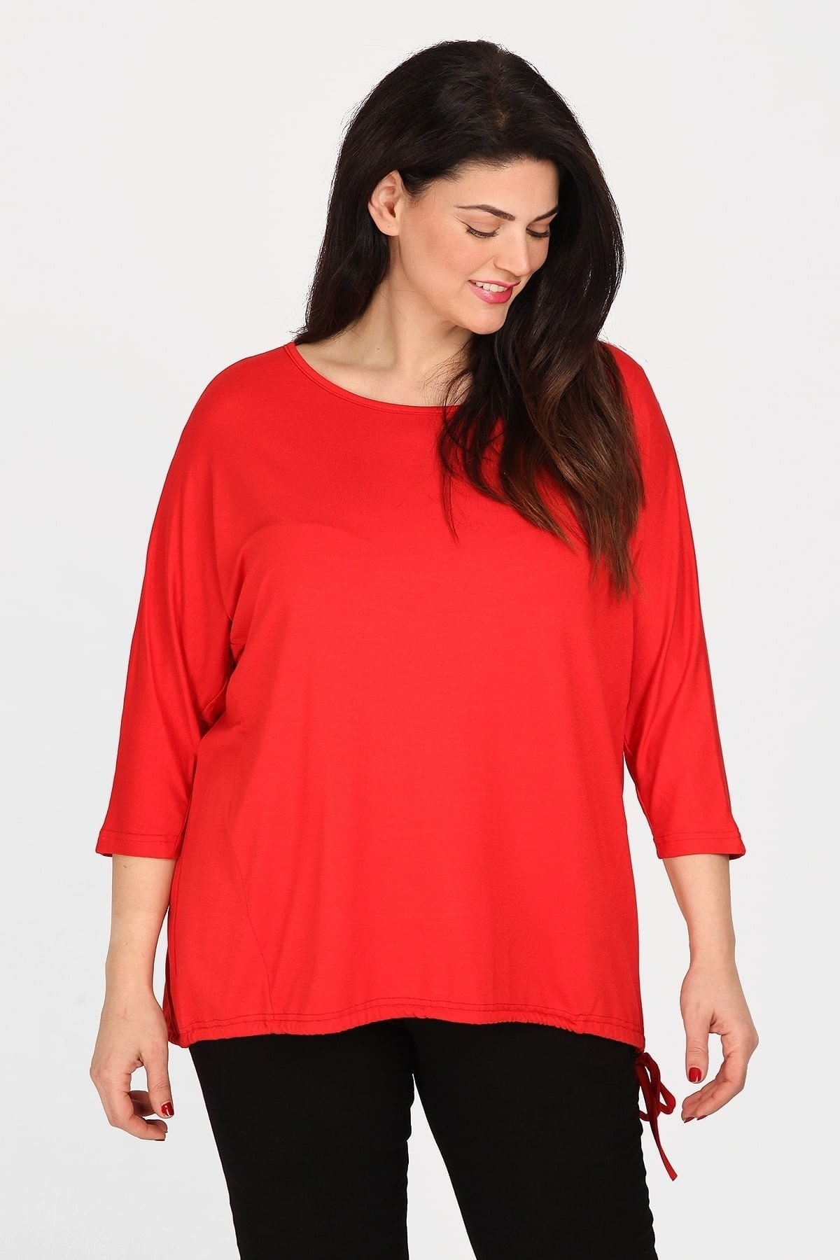 Top with drawstring hem