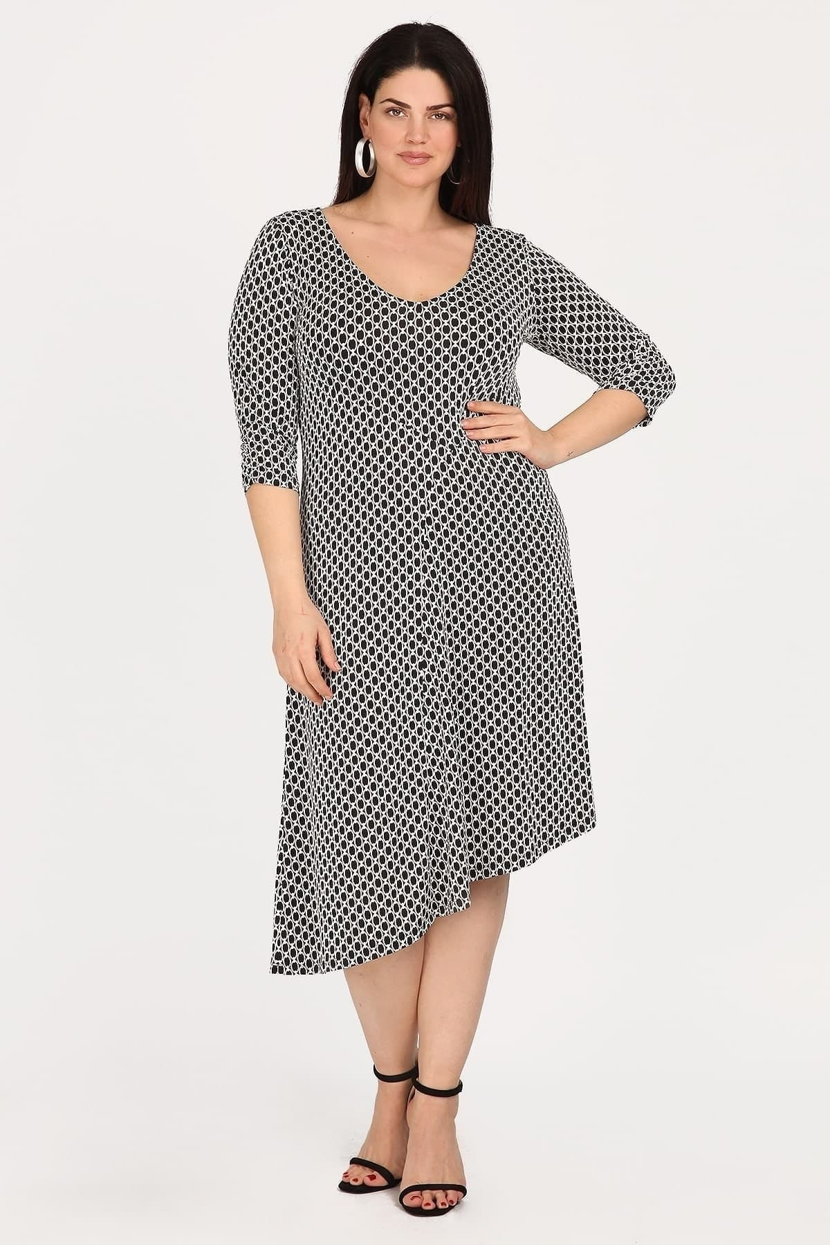 Printed midi dress with chains pattern