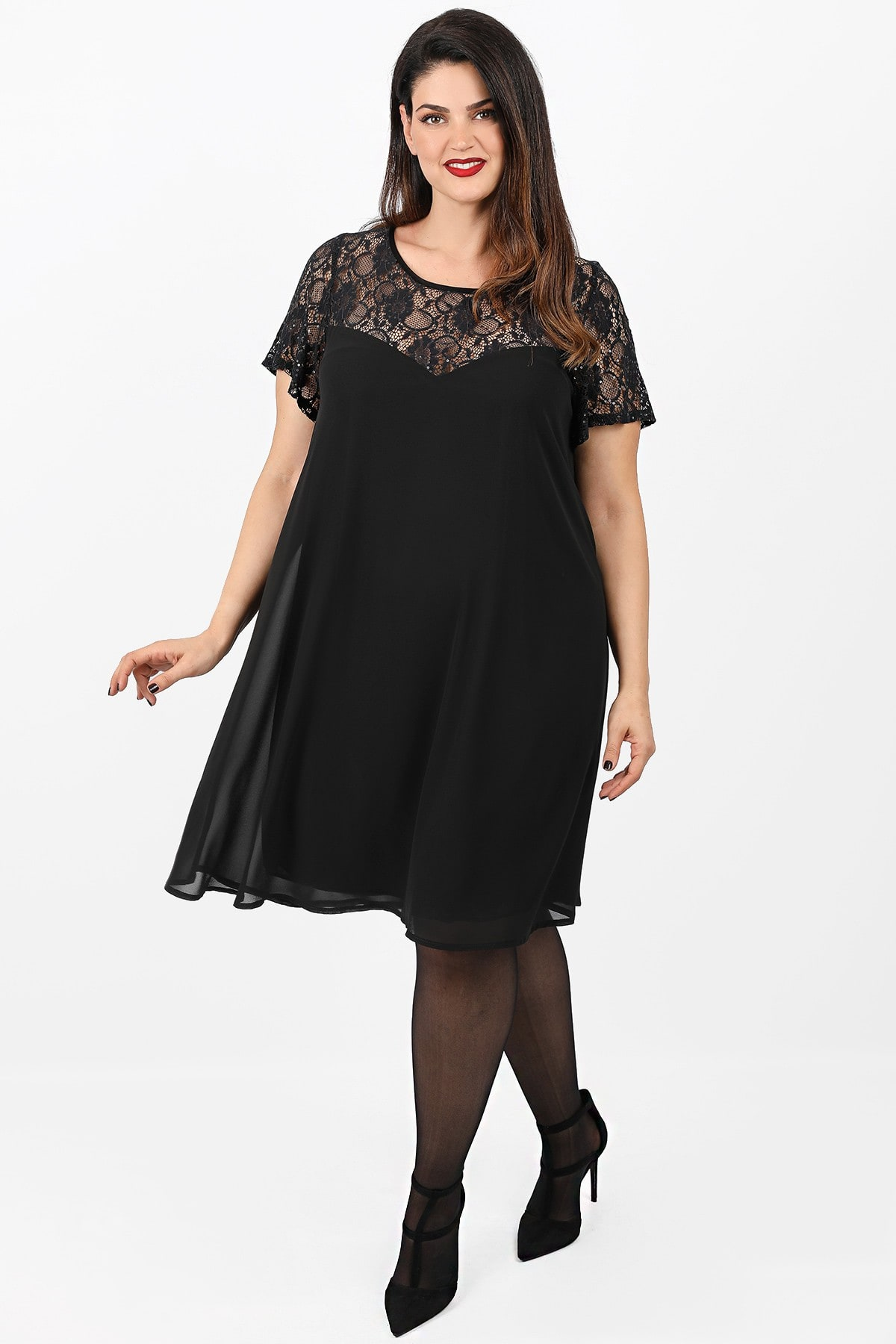 Evening midi dress in skater line with lace and sequins