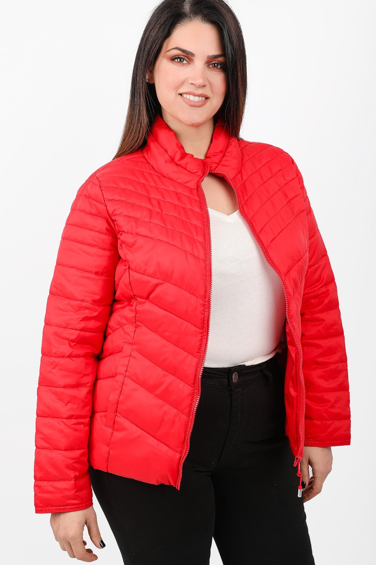 Quilted jacket with zipper