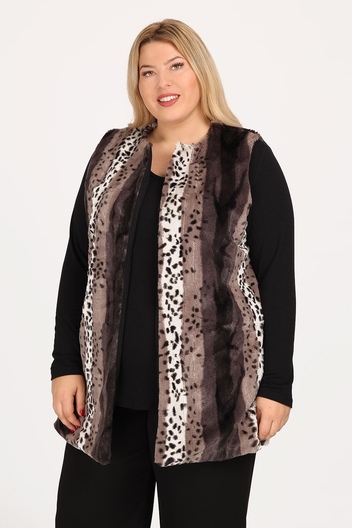 Faux fur vest in animal print