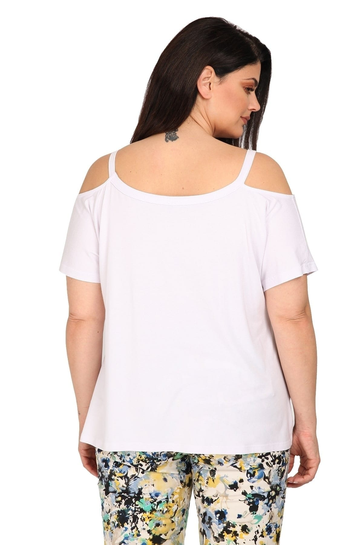 Cold-shoulder viscose top