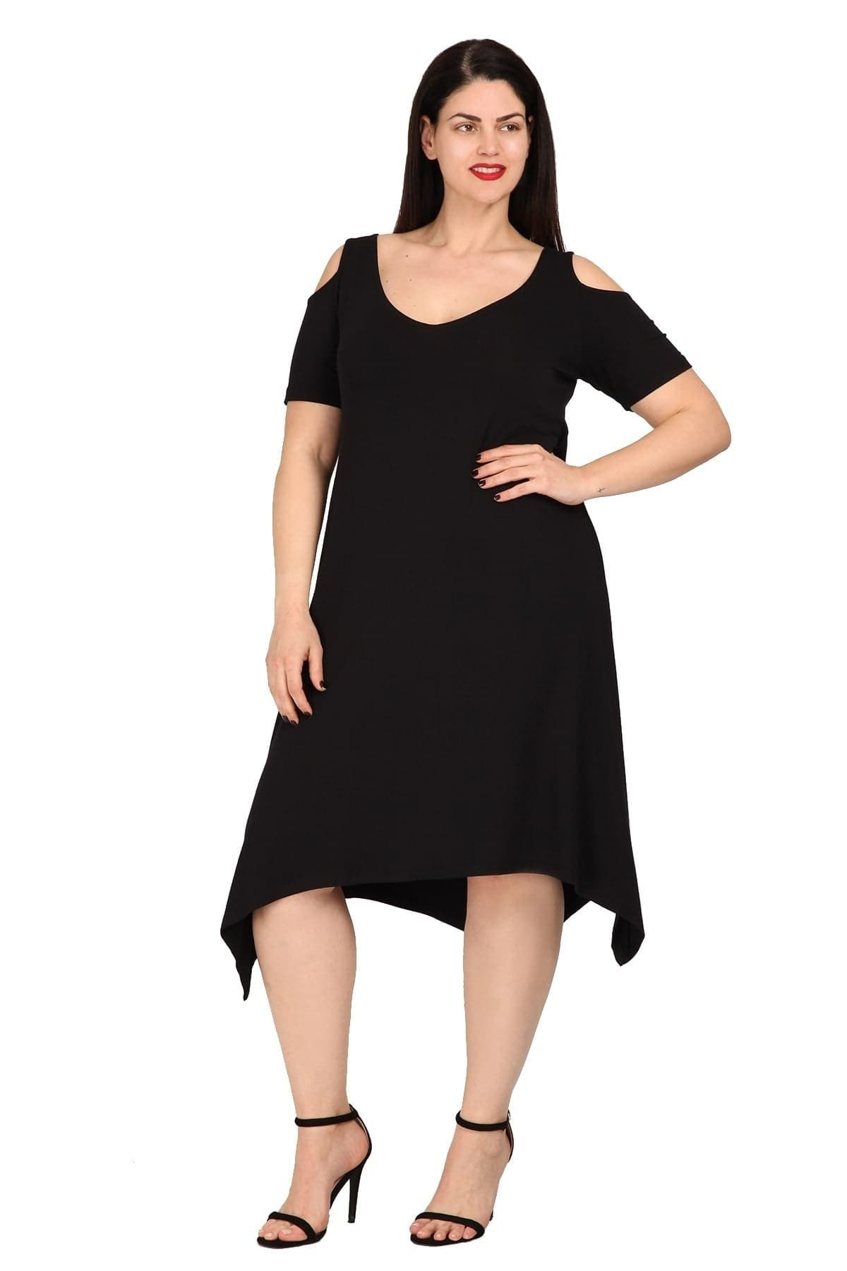 Midi cold-shoulder viscose dress pointy hem