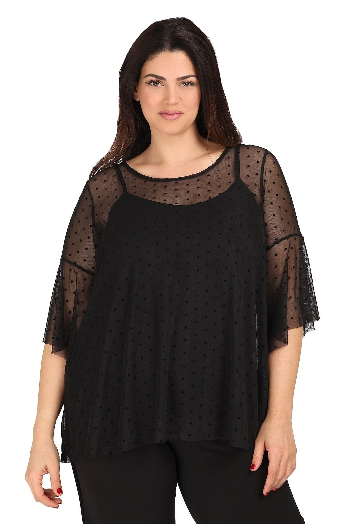 Blouse with sheer spotted overlay
