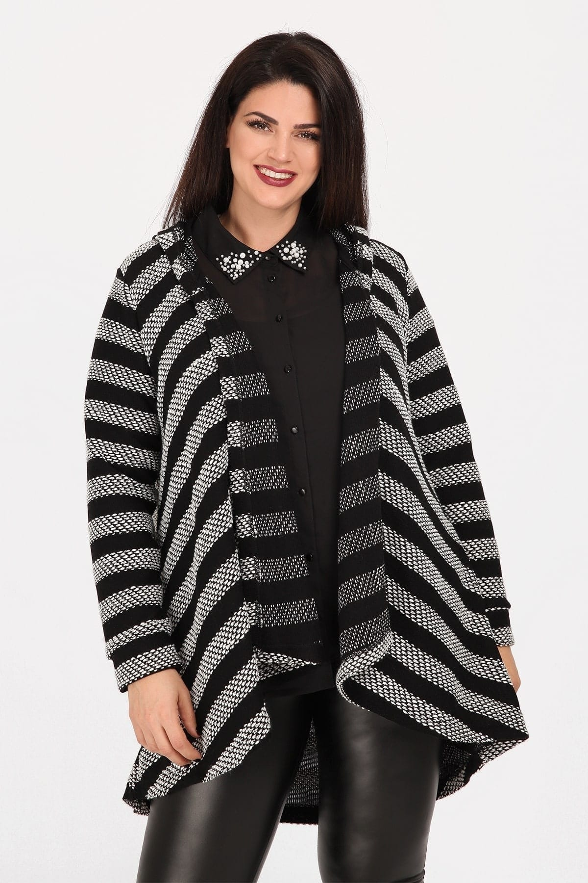 Open front striped cardigan with hood