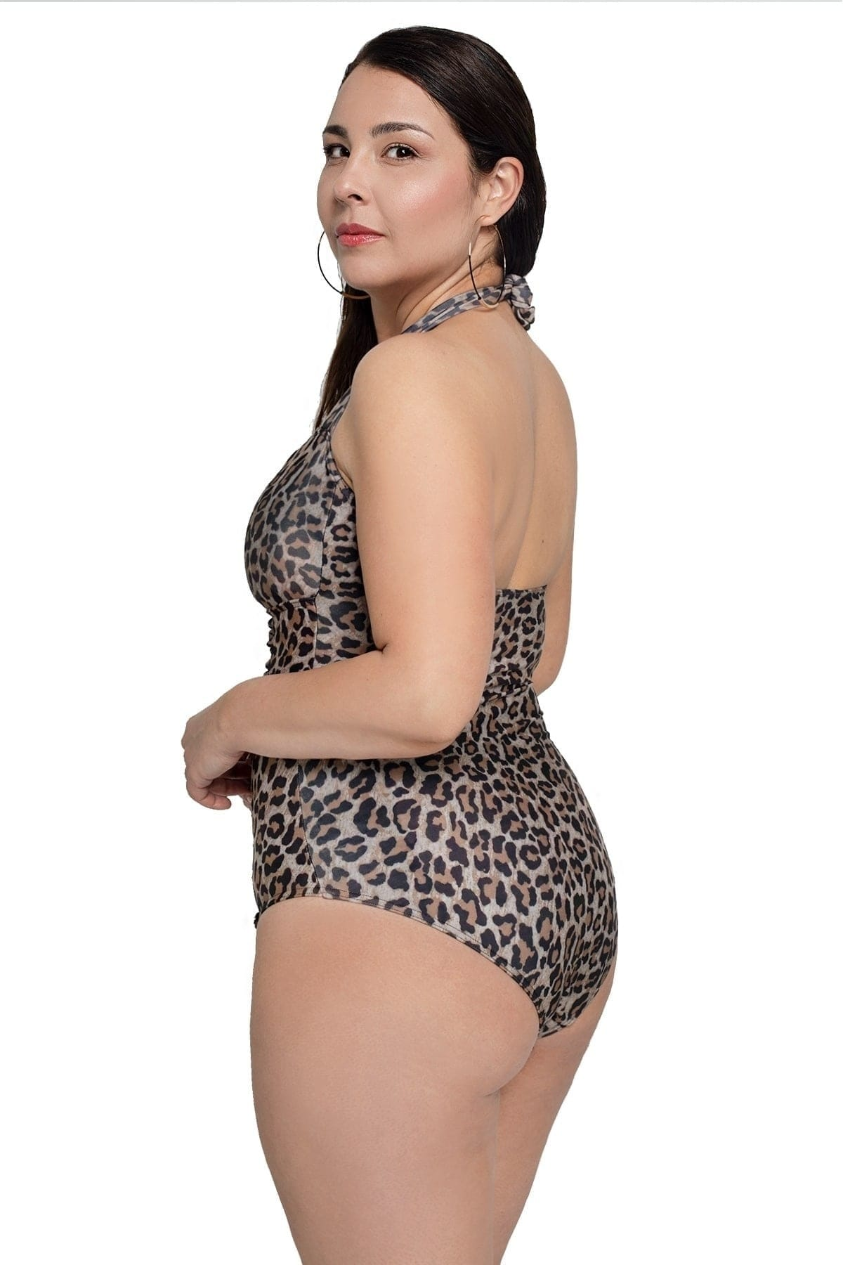 Leopard draped swimsuit with halter neck