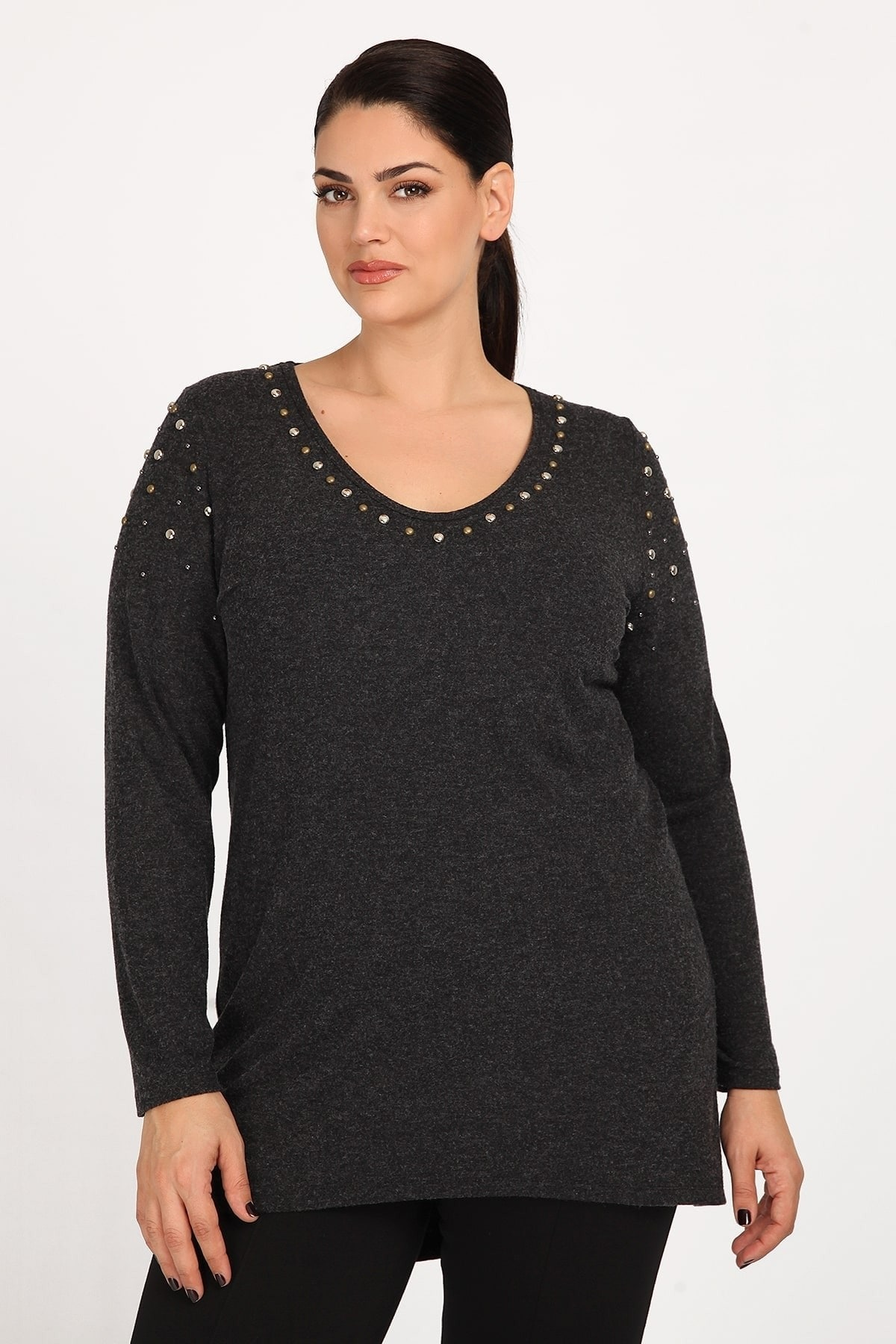 Blouse with decorative studs