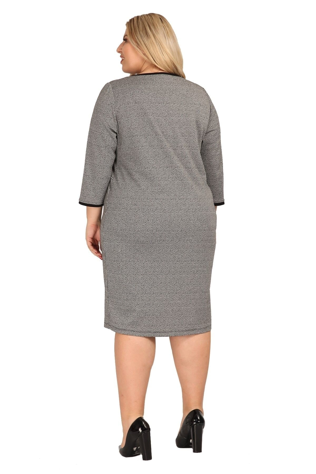 Jacquard midi dress with buttons