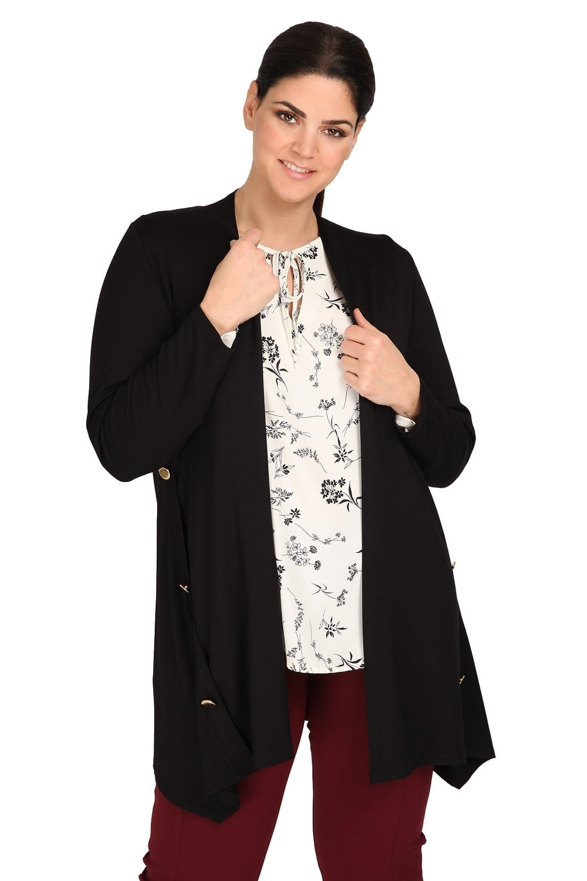 Longline cardigan with golden buttons