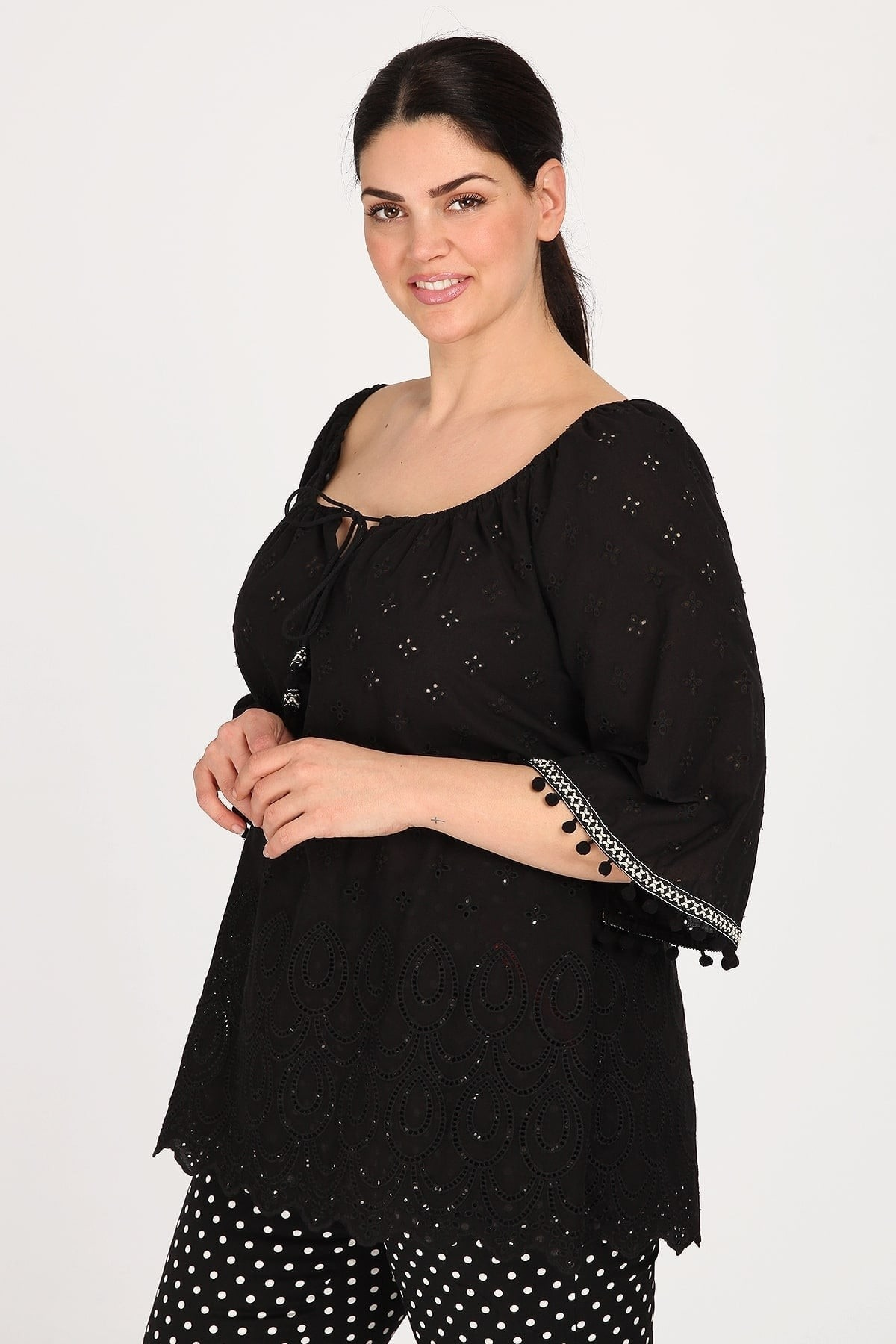 Broderie blouse with bell sleeves  elastic neckline