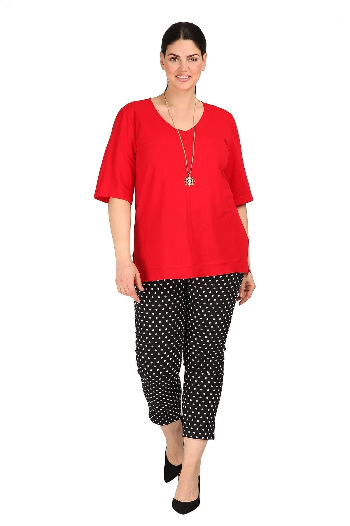 Polka dots elastic trousers with pockets