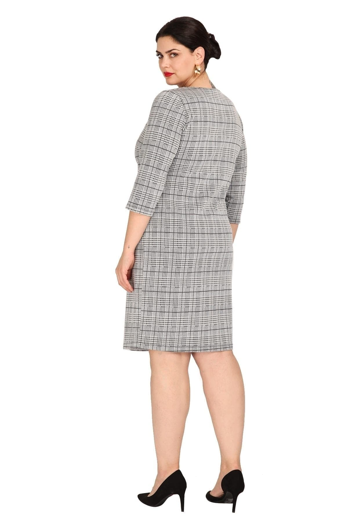 Midi prince de galles dress with buttons