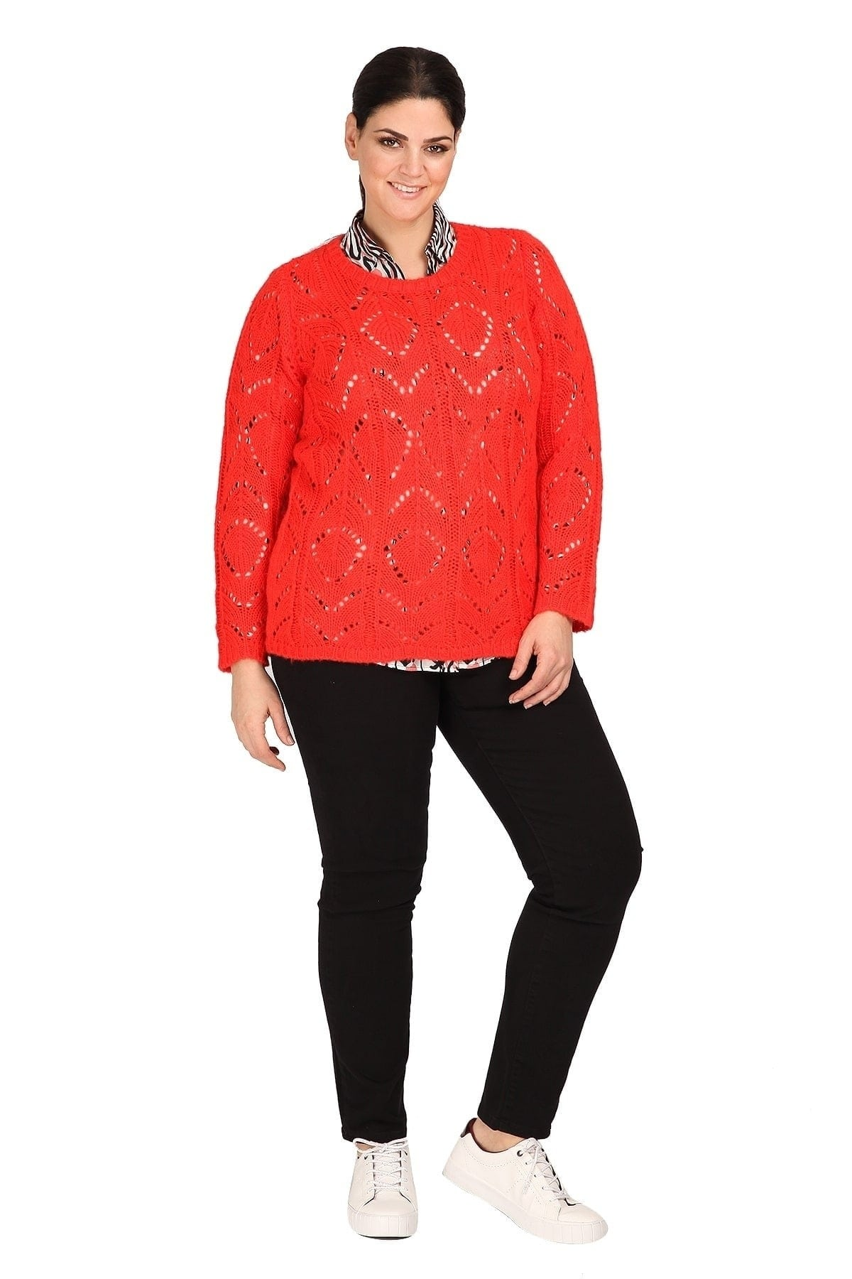 Knit blouse with openwork details