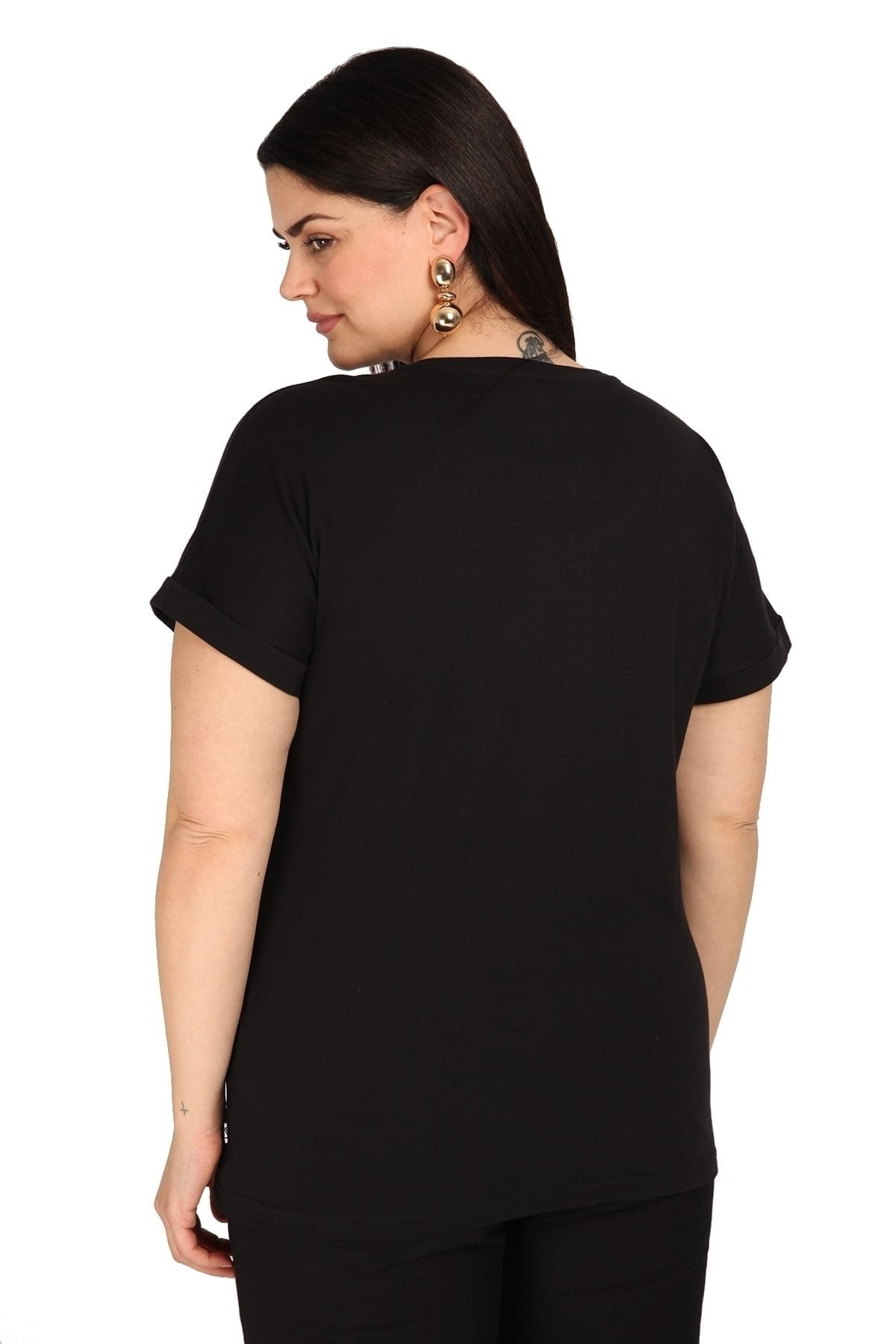 T-shirt with metallic logo from cotton
