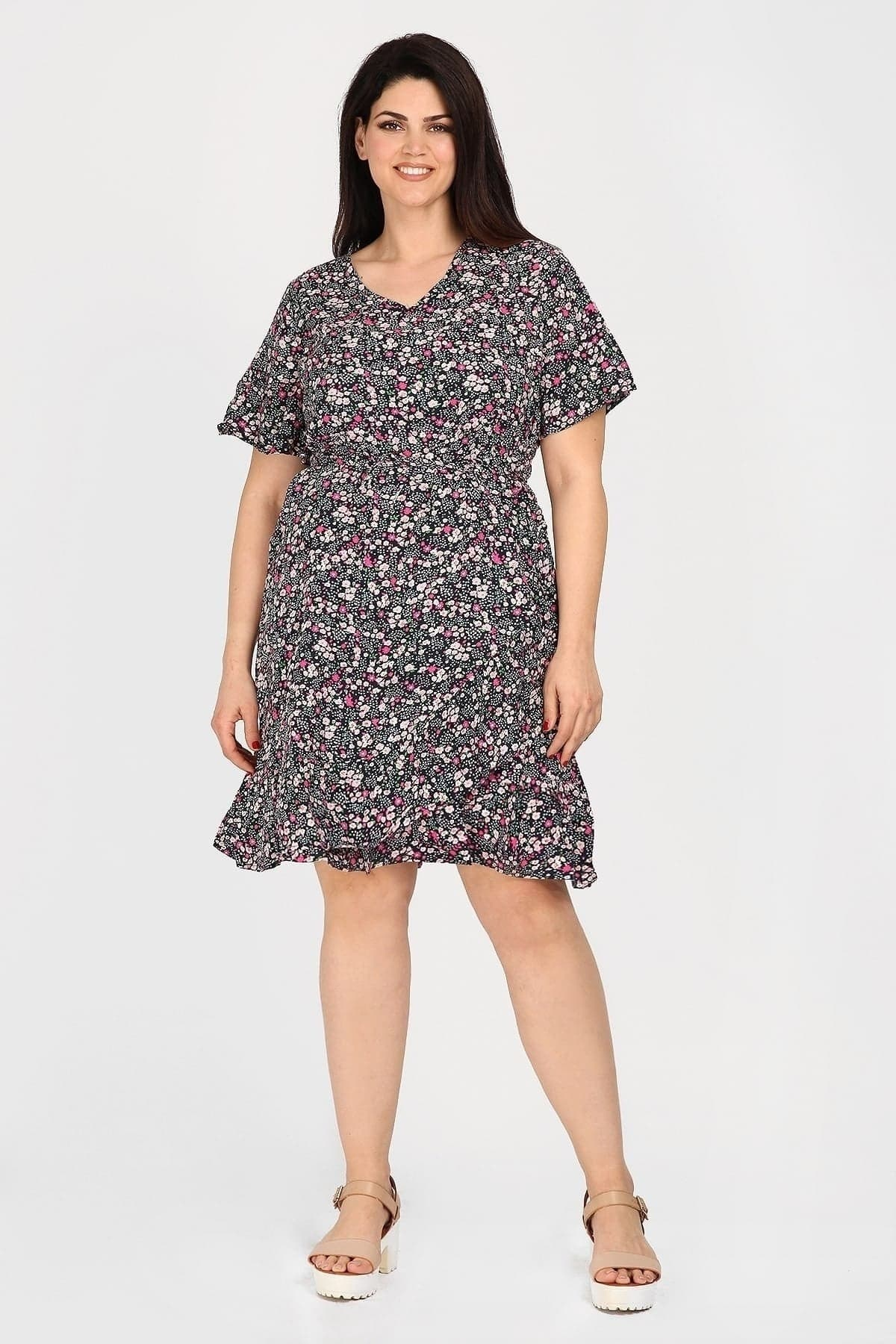 Midi floral dress with ruffles