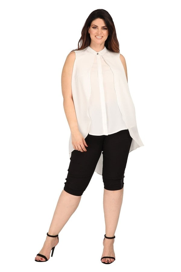 Sleeveless longline high-low shirt