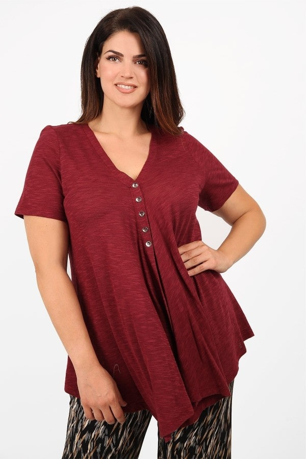 Melange blouse with buttons and asymmetrical hem