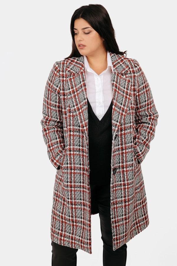 Checkered midi coat