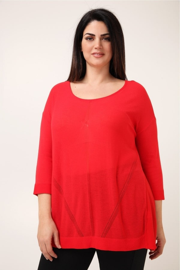 Viscose pullover with openwork details