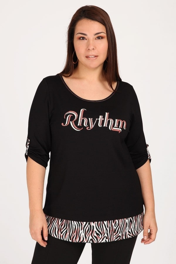 RHYTHM top with animal print hems