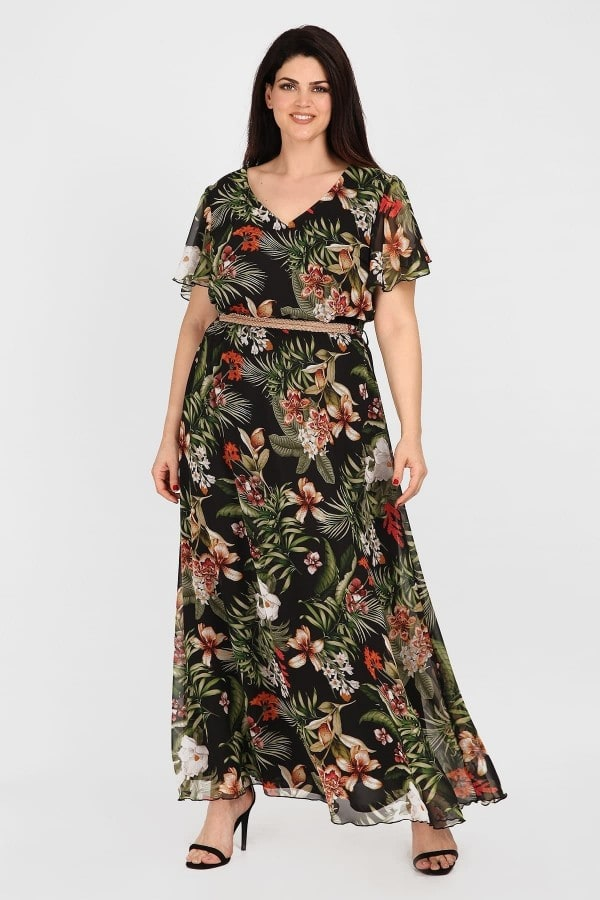 Floral maxi dress with bell sleeves
