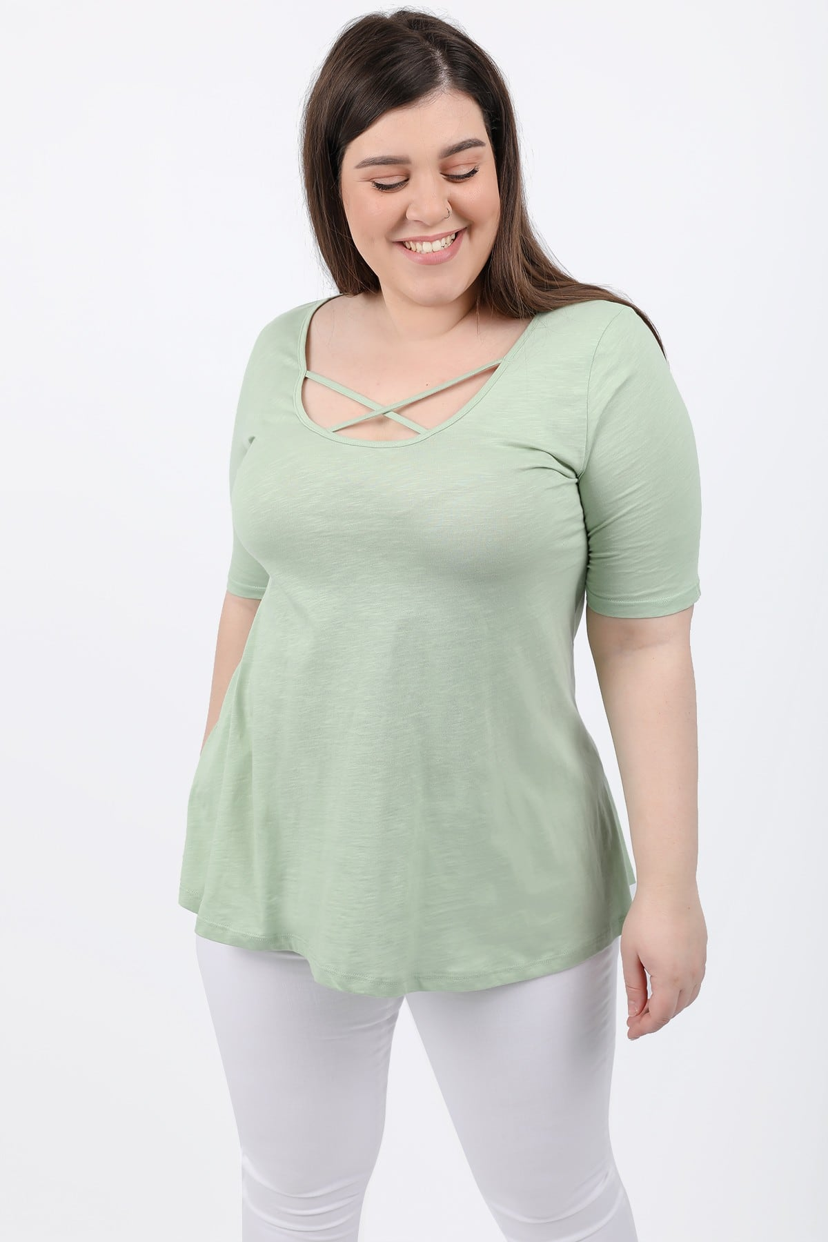 Basic top with crossover on the front