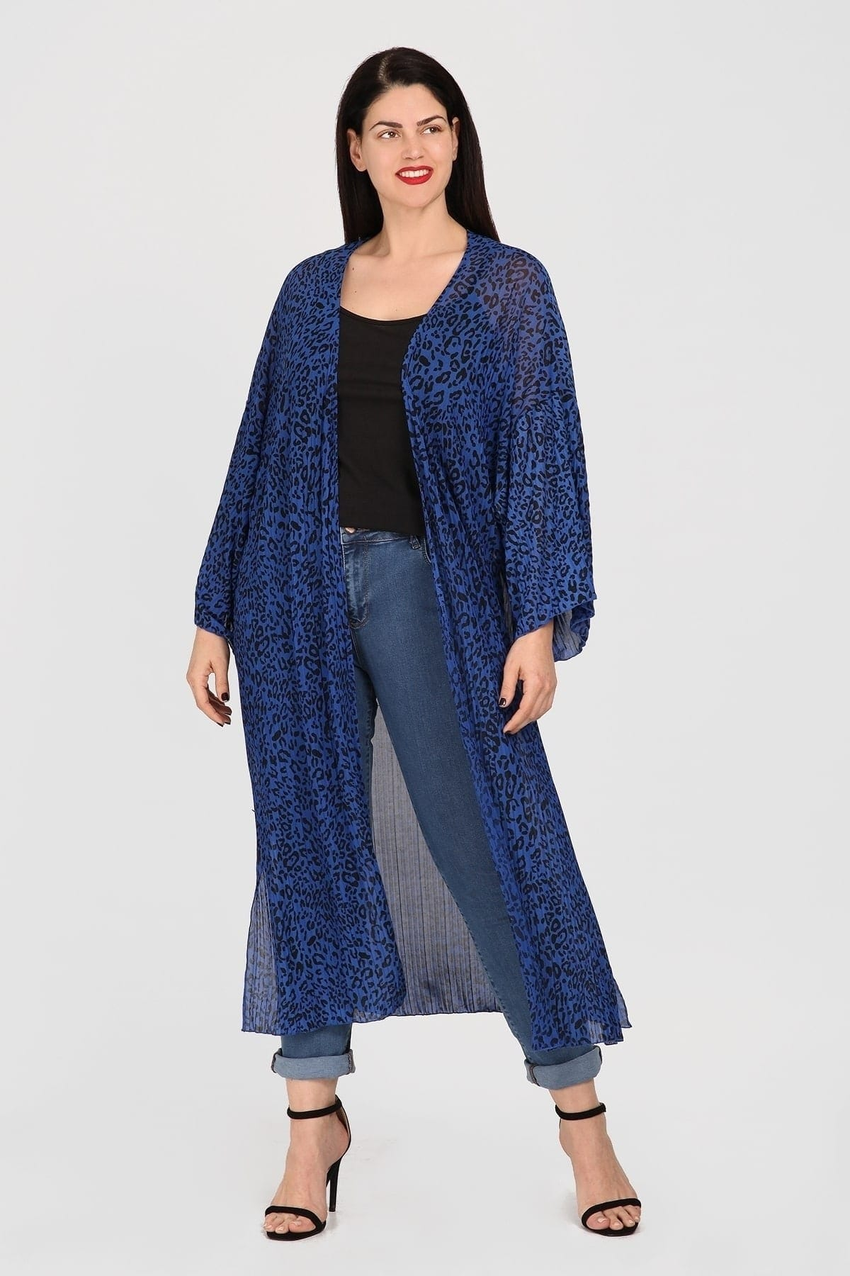 Longline semi-sheer kimono in pleated animal print
