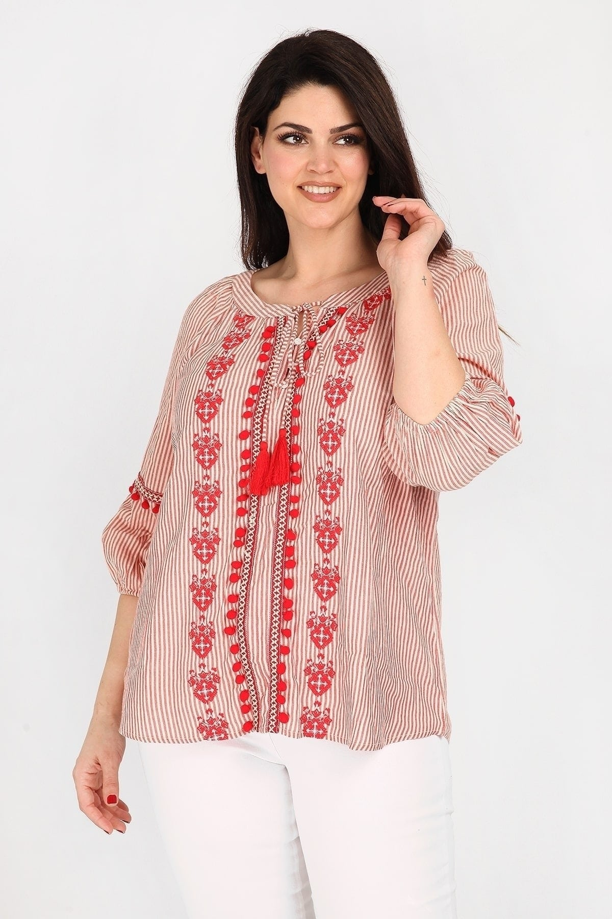 Striped embroidery blouse