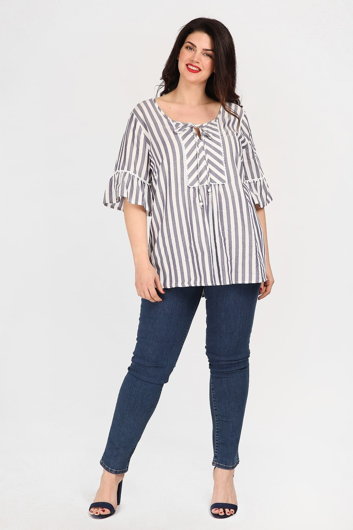 Striped empire blouse