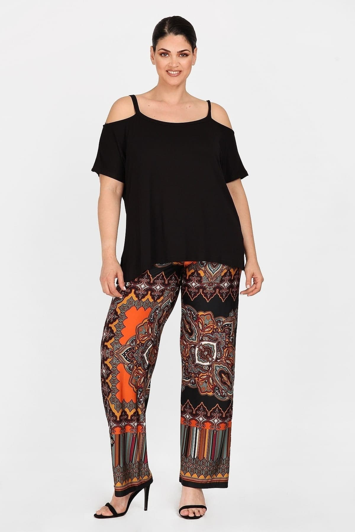 Super jersey patchwork ethnic print trousers
