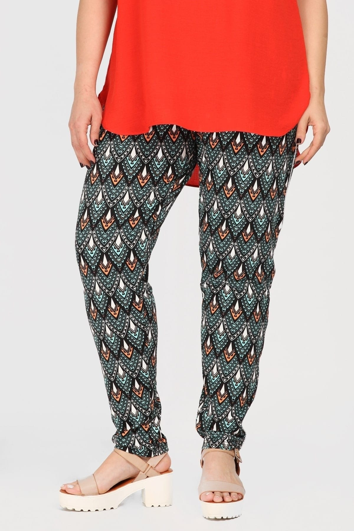 Viscose print trousers with lurex