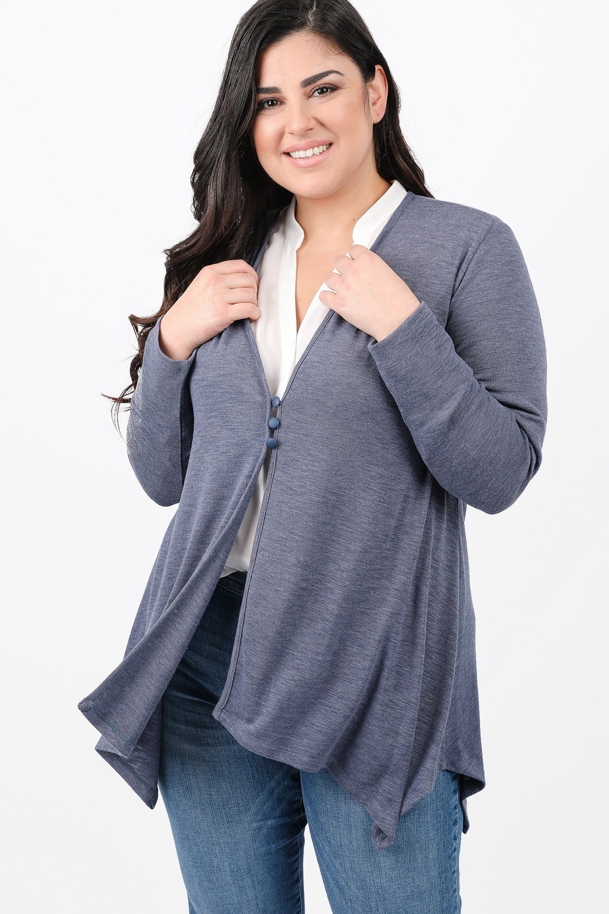 Melange cardigan with pointy hem and buttons