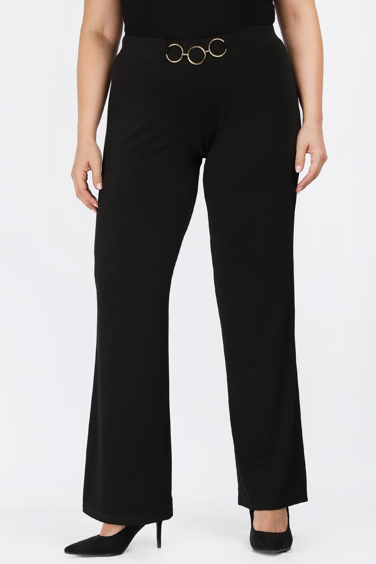 Jersey trousers with o-ring belt