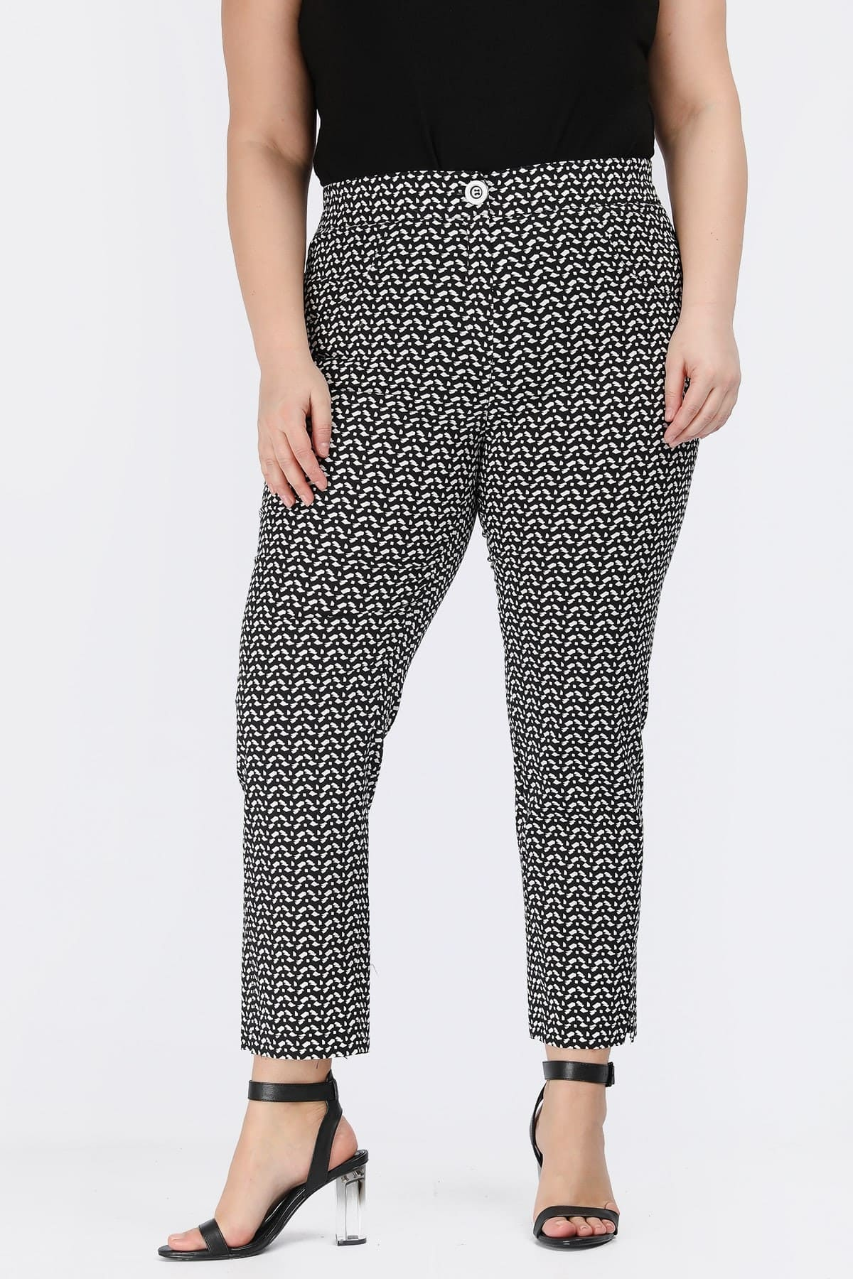 Printed trousers in cotton gabardine