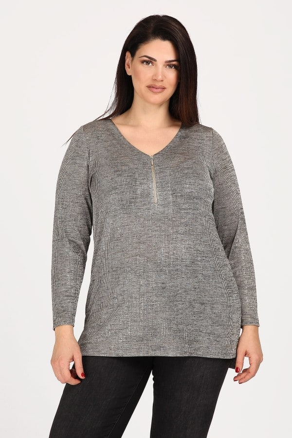 Foil blouse with zip on the neckline