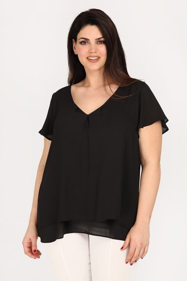 Chiffon top with bell sleeves