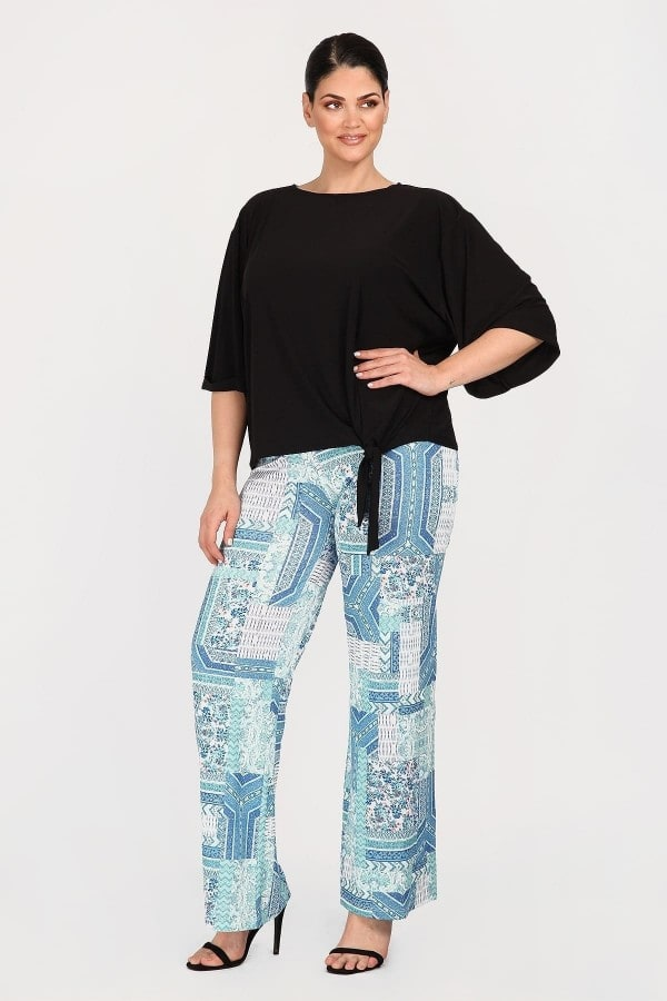 Printed super jersey trousers