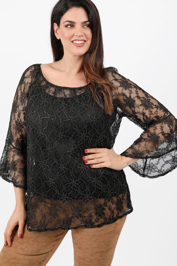Evening printed blouse with ruffled sleeves