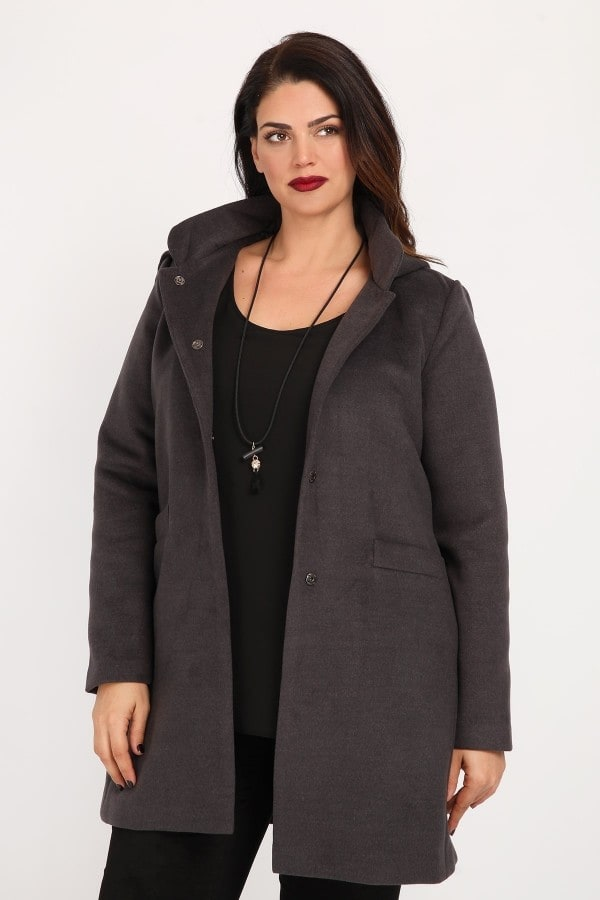 Peacoat with embedded hood