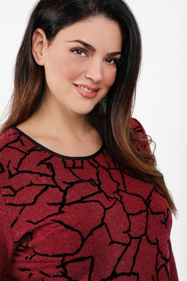 Blouse with velveteen details at the front view