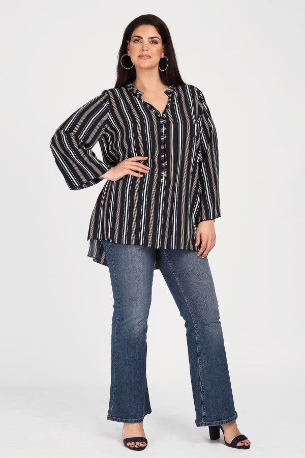 Hi-lo striped tunic with cords on V