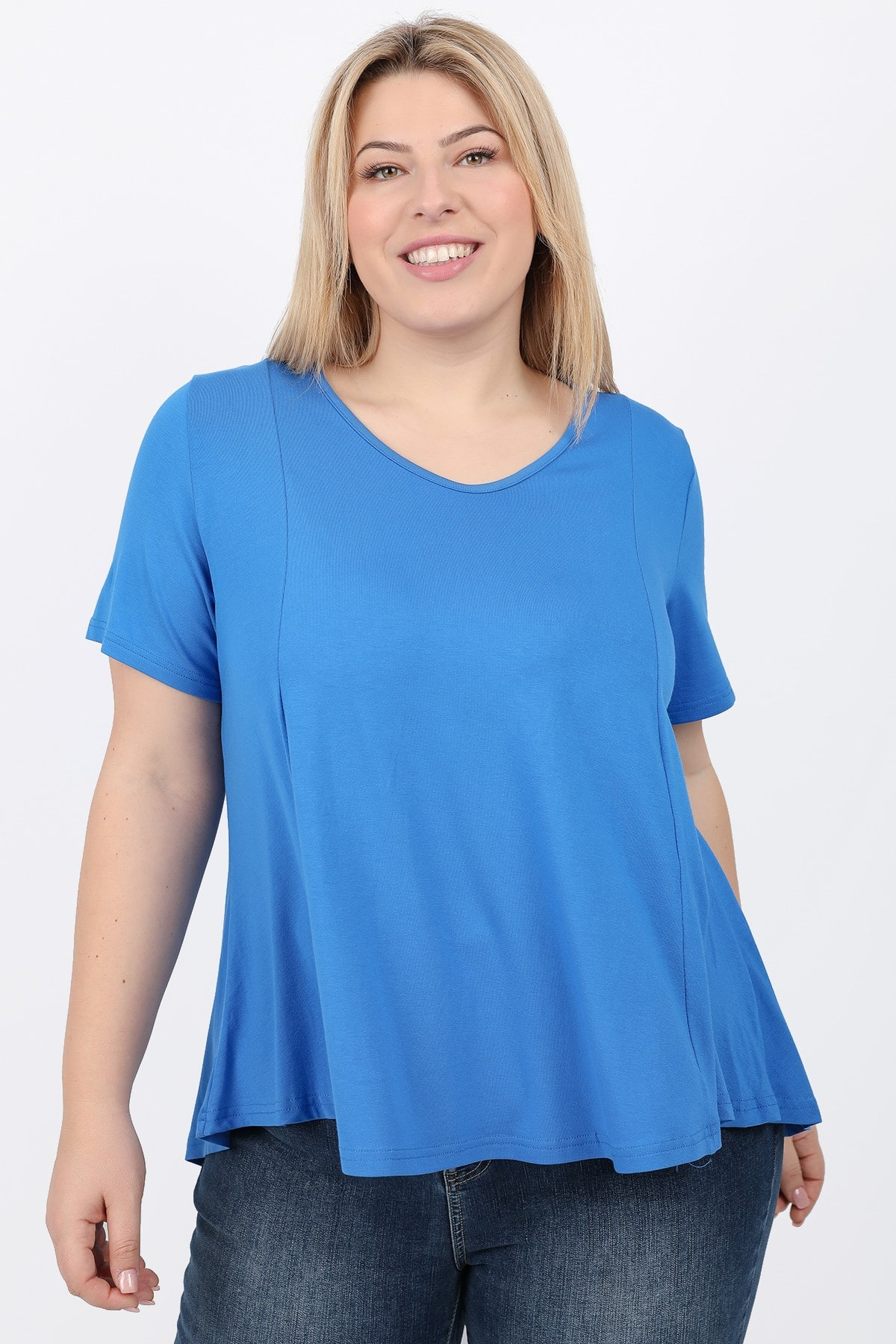 Basic viscose dip hem blouse