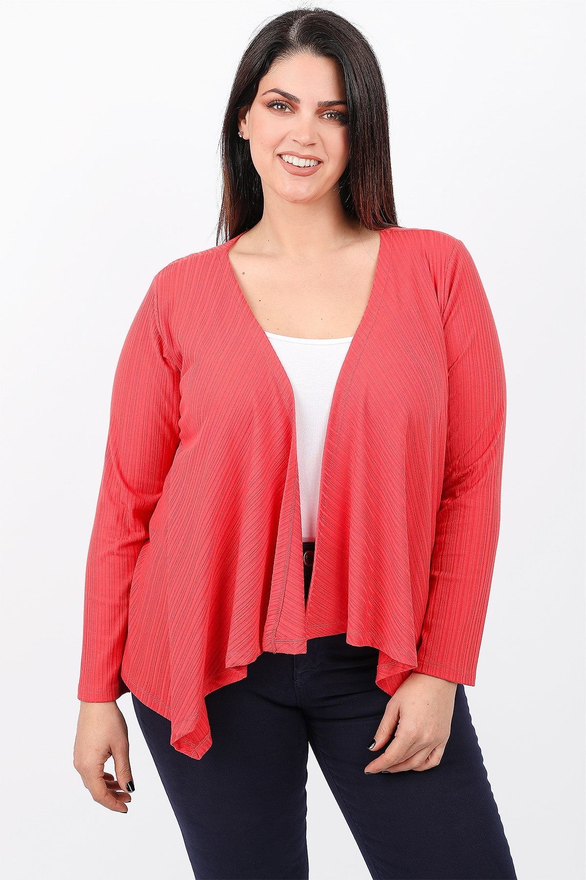 Rib cardigan with pointy hem