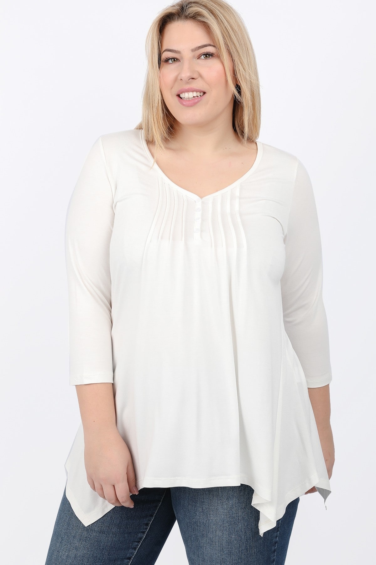 Basic blouse with buttons and pleated asymmetric hem