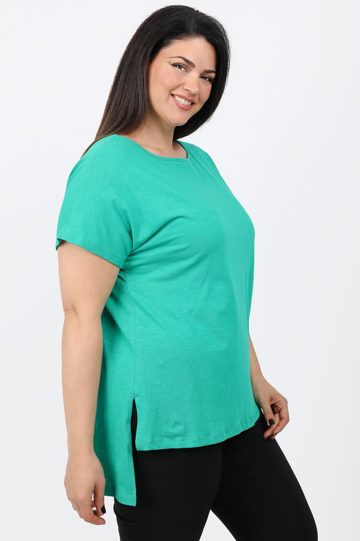 Melange basic top with lower back