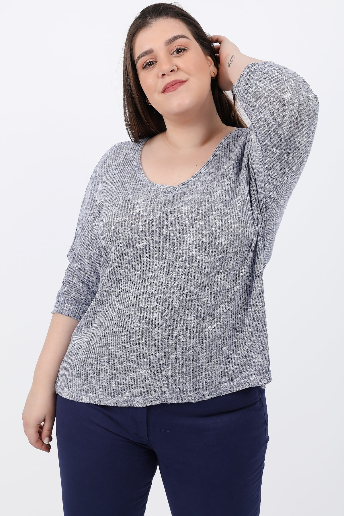 Basic rib melange blouse