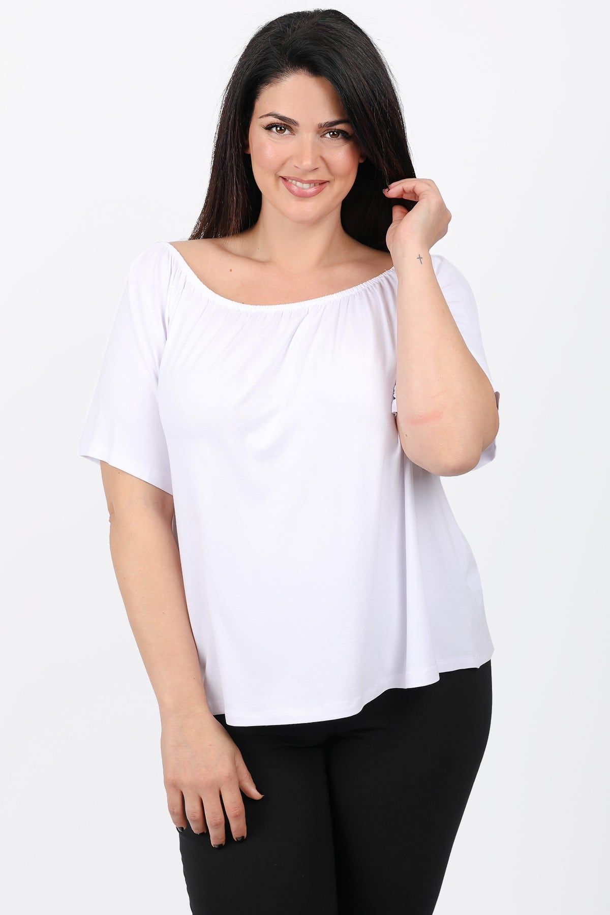 Monochrome off-shoulder top with bell sleeves