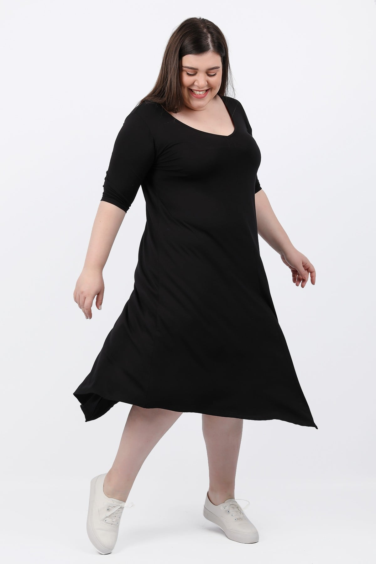 Basic asymmetric midi dress with pointy hems