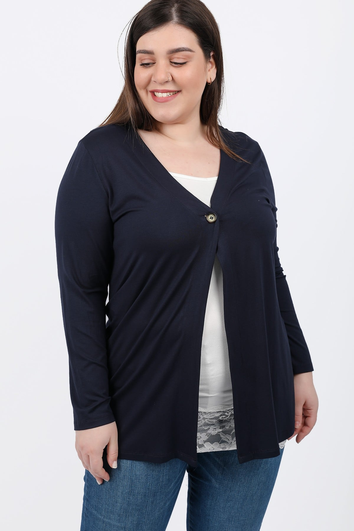 Basic viscose longline cardigan with button