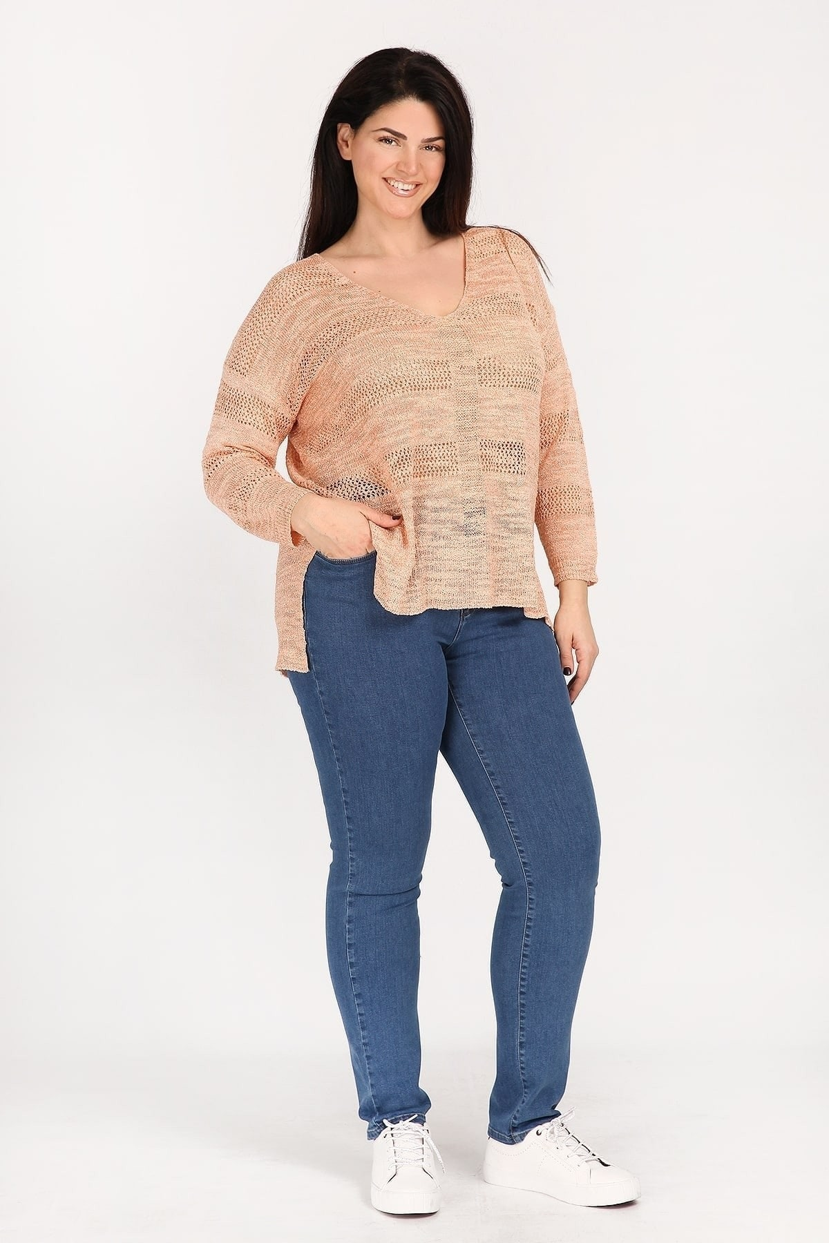 Striped knit lurex blouse with openwork details
